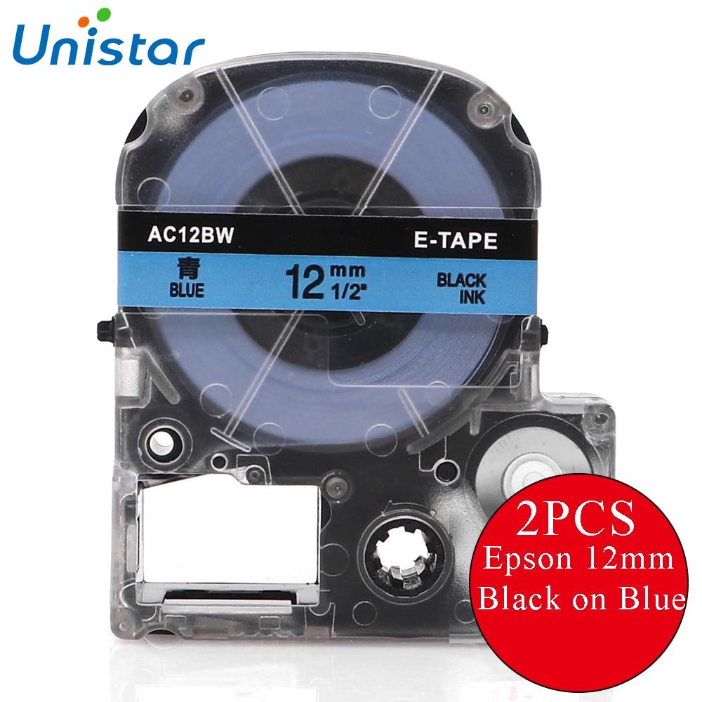 UNISTAR 2 uds cartucho de cinta Compatible LK-4LBP SC12BW para Epson/KingJim negro en Azul 12MM cinta de etiquetas para impresora Epson