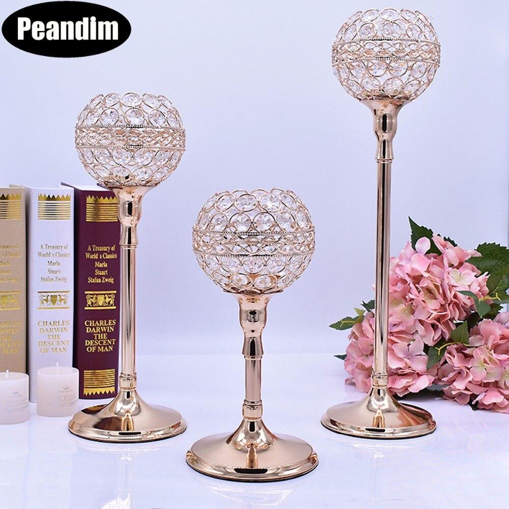 PEANDIM elegante decoración cristalina de boda centros de mesa hilos candelabro vela Base titulares 3 unids/set