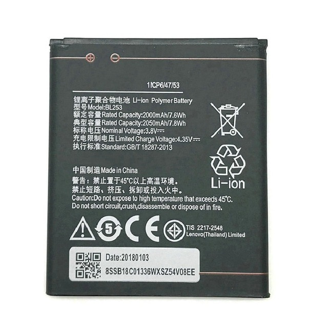 2050mAh BL253 Battery For Lenovo A2010 Battery A 2010 / BL 253 BL-253 A1000 A1000m A 1000 A2580 Mobi