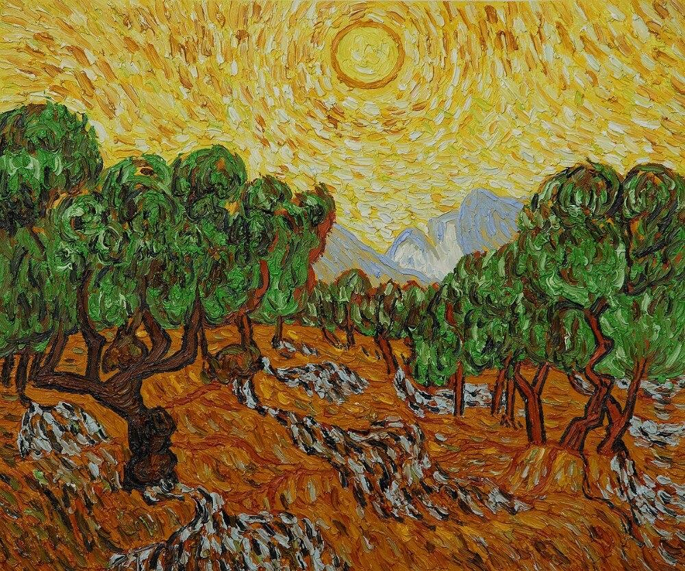 Pintura al óleo hecha a mano paisaje de olivos con sol amarillo y cielo de pintura en lienzo sin marco