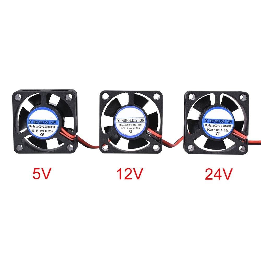 Mini ventilador sin escobillas de refrigeración DC 5V 12V 24V 3010 30*30*10MM Cable 17CM 2Pin radiador negro para piezas de impresora 3D Reprap