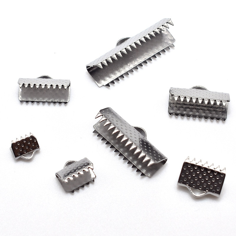 50pcs/lot Stainless Steel Ribbon Clip Clamp Cord Crimp End Cap Tip Necklace Bracelet Connector Finding 6.5 8.5 10 13 15 20 25 mm