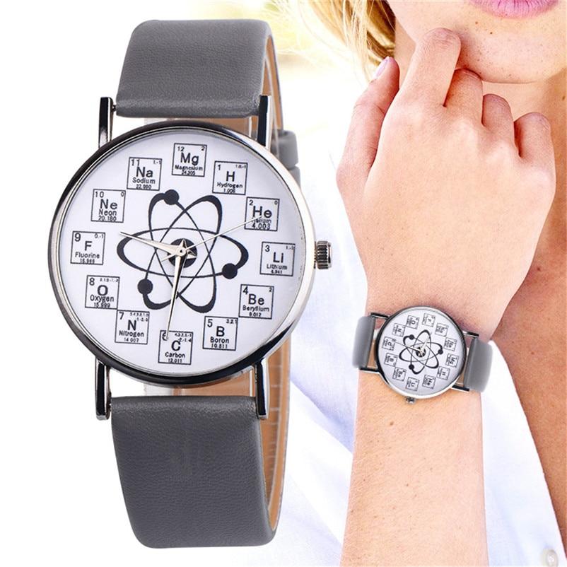 Newly Design Watch Women Girl Fancy Womens Chemical Element Casual Leather Band Analog Alloy Quartz Wrist Watch Clock J13#N