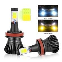 Niscarda 2X COB  H1 H4 H7 H8 H11 9005 Driving 8000K Ice Blue 3000K Amber Yellow Fog Lights Bulbs Dual Color Lamps