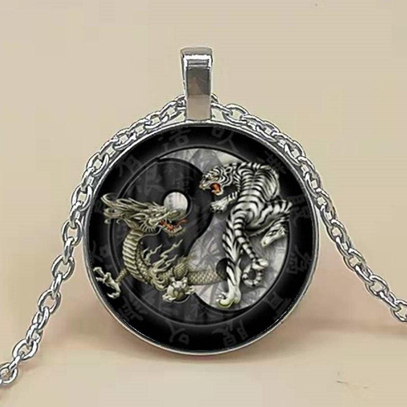 New fashion China style Tai Chi dragon tiger Yin Yang retro glass pendant long chain necklace jewelry items for women men
