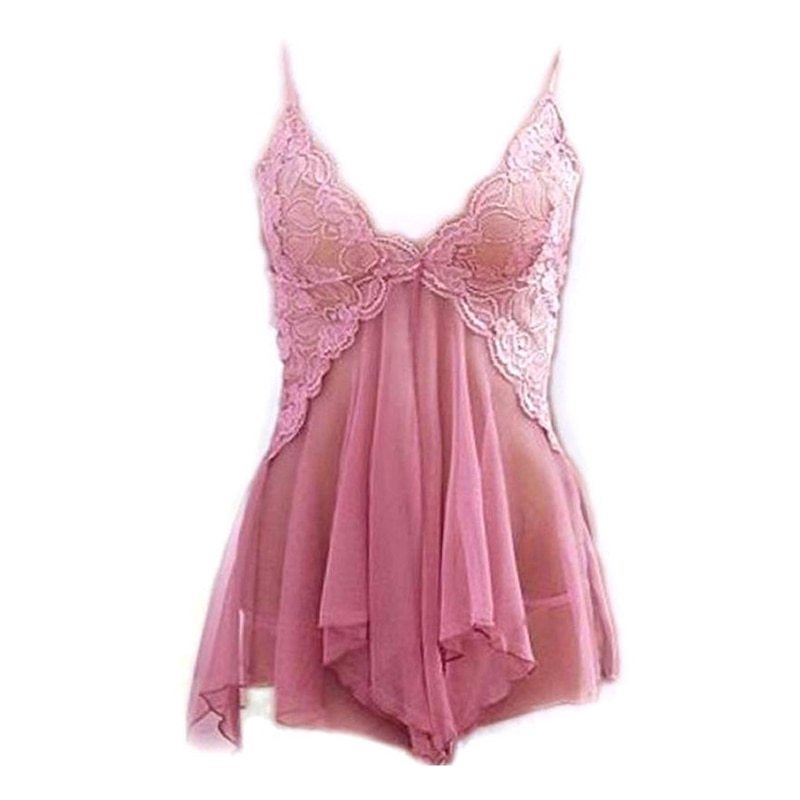 2017 Hot Mulheres Sexy Womens Babydoll Lingerie Camisola V Pescoço Senhoras Sleepwear Nightie Lace Chemise G-String Vestidos de Noiva
