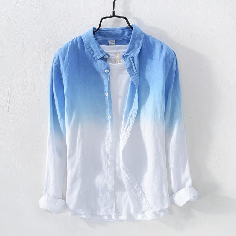 2018 أحدث تصميم الأزياء الصيف رجل تدريجيا تغيير اللون الكتان قميص عالية الجودة السببية عطلة شخصية القطن قميص