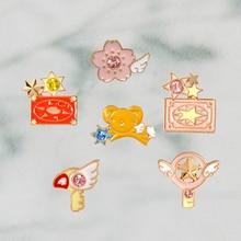 6 pz/set Carino Spille k Card Captor Sakura Kero Spada Kinomoto star Bacchetta Chiave Dello Smalto Spille Risvolto Spille Distintivo Giapponese anime collection