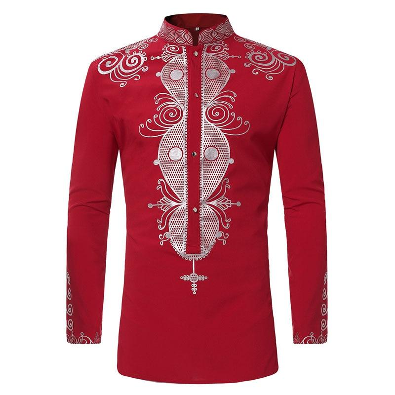 Camisa de vestir Dashiki con estampado africano Hipster para hombre 2020, nueva camiseta étnica Tribal, camisas de manga larga para hombres, ropa africana, Camisa