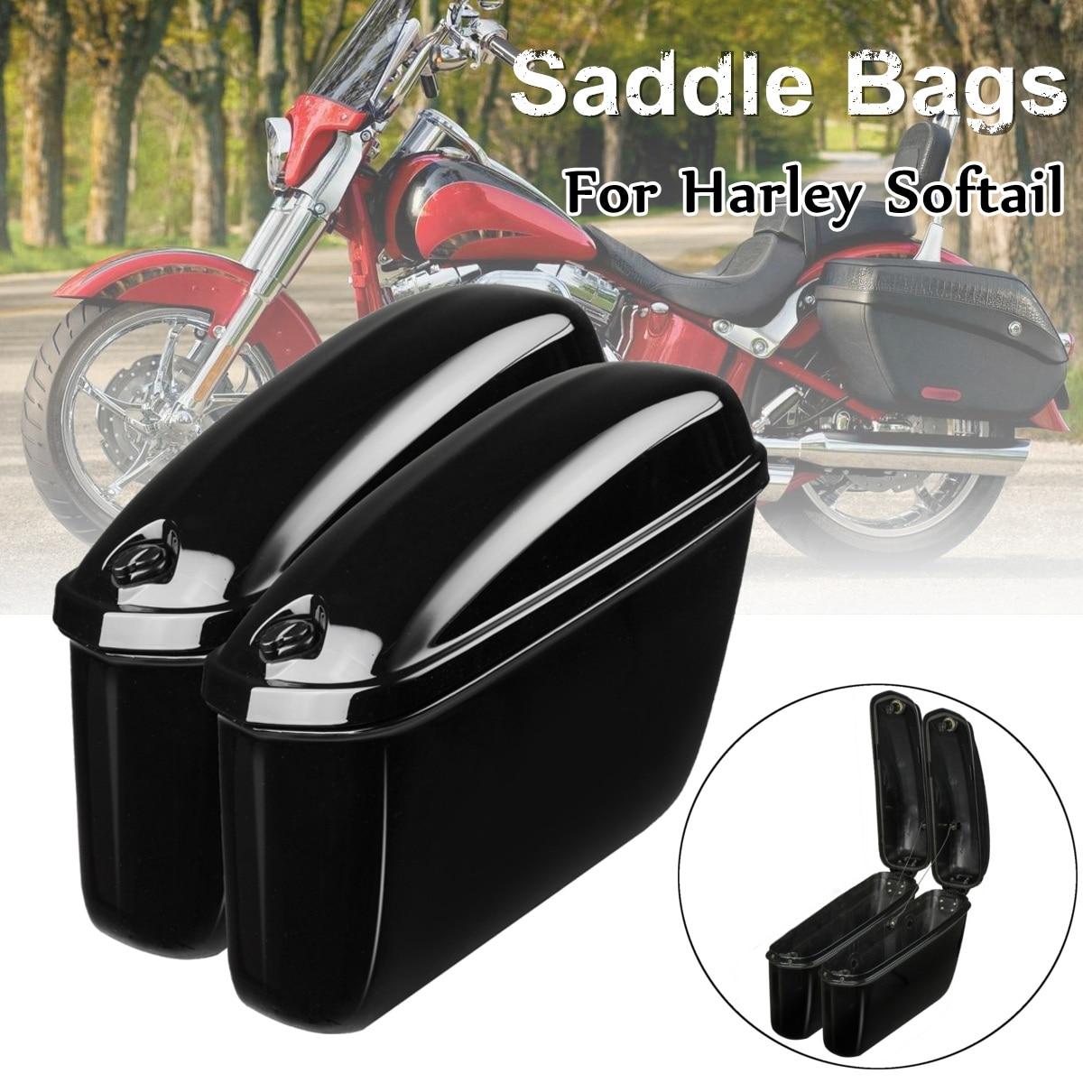 Par Motocicleta Tronco Lado Alforjes Sela Sacos de Moto em Couro Caixa Dura para Harley Softail