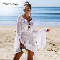 wildpinky v neck white mesh lace dress women sexy summer beach short dress causal flare sleeve dress vestidos 2021