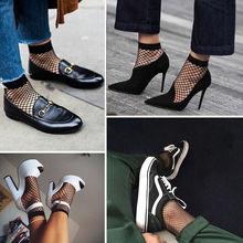 Günstige Fishnet Kurze Socken Frauen Sommer Unsichtbare Schwarze Nylon Mesh Socken Weibliche Feste Farbe Transparent Frau Socken