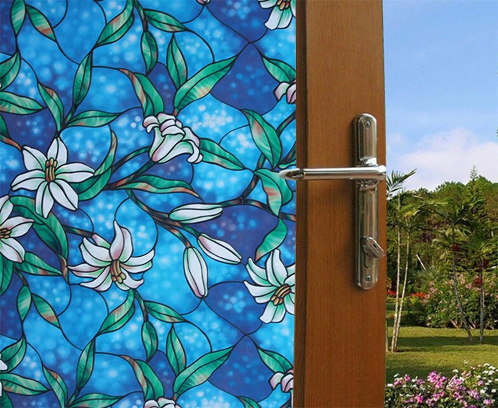 50x92cm lily Privacy Window Film Decorative Stained Glass Window Film Stained Glass Film Sticker Home