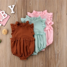 0-24M Solid Color Ruffle Baby Girls Rompers Toddler Kid Girls Summer Cute Romper Jumpsuit Princess B