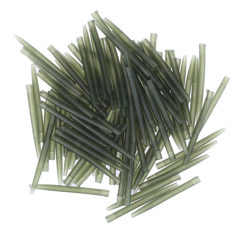 30/50/100 Uds manga de gancho de pesca tubo Rig de pelo alineador mangas suave Anti enredos posicionador pesca con aparejos terminales Accesorios