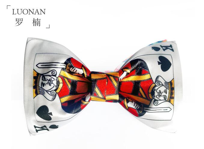 Free Shipping New men's man fashion Bow tie male wedding bow female original personality design poker printing white red