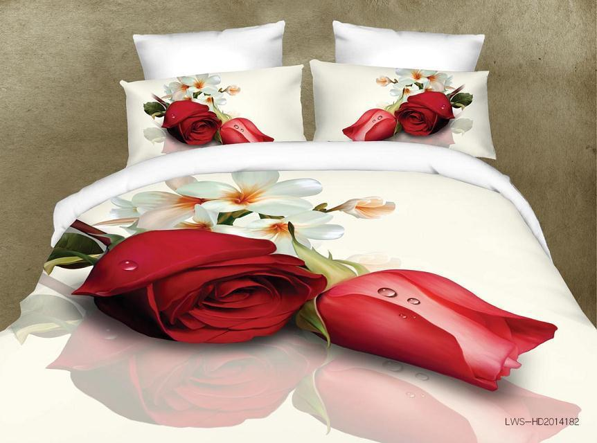 Mejor. WENSD calidad 3d Impresión digital funda de edredón + sábana + funda de almohada funda de cama antideslizante ropa de cama de boda rosa roja