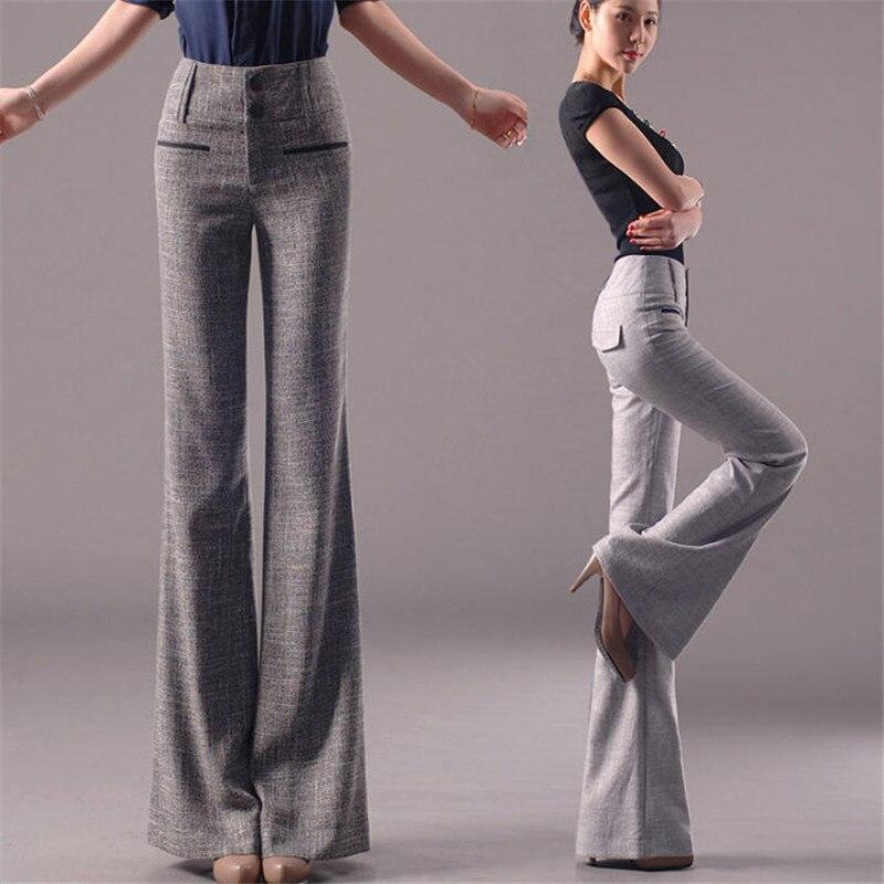 2019 primavera nova moda feminina flare pants escritório senhoras algodão linho calças casuais reta estiramento magro tamanho grande