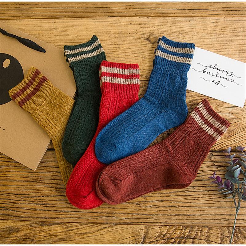 Зимние теплые носки из хлопка для женщин, одноцветные теплые носки в полоску, ультра толстые женские носки, 2020,
