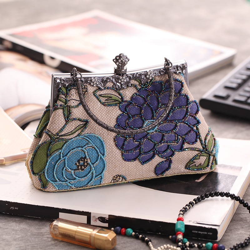 Vintage Blue Women Bag Linen Beaded Embroidery Handbag Clutch Party Purse Makeup Bag Flowers Shoulder Bag XST7566-C