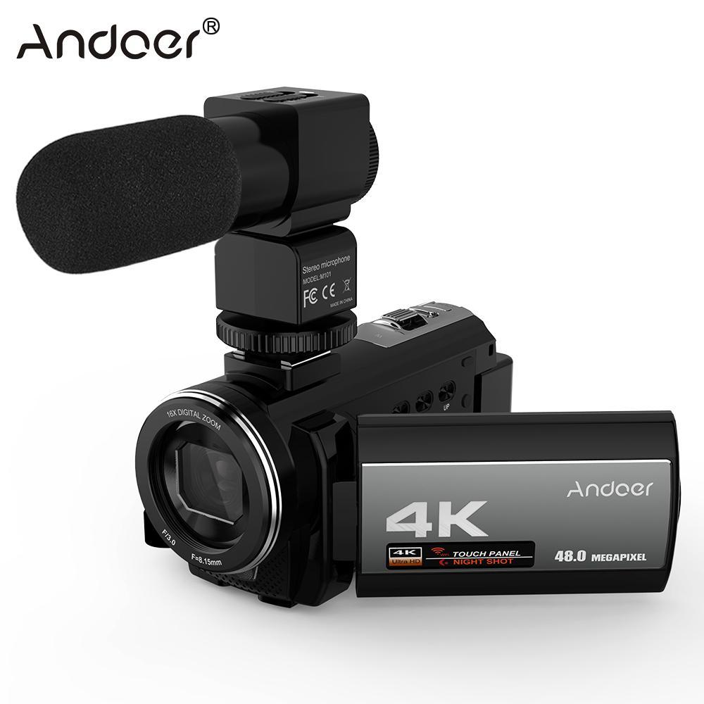 "Andoer uso en el hogar 4K 48MP WiFi cámara de vídeo Digital videocámara con micrófono externo 3,0 ""Pantalla táctil cámara de vídeo de disparo nocturno"