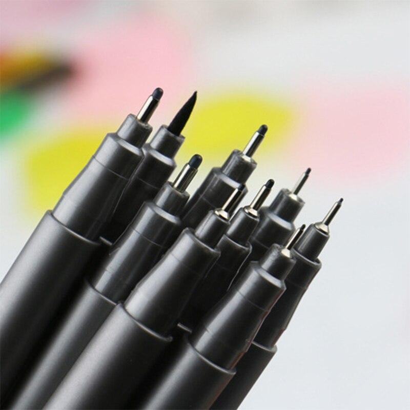 STA 9 unids/set rotulador para bocetos pluma diferentes tamaños de Punta pigmento negro Liner pincel a base de agua marcador para suministros para arte de papelería