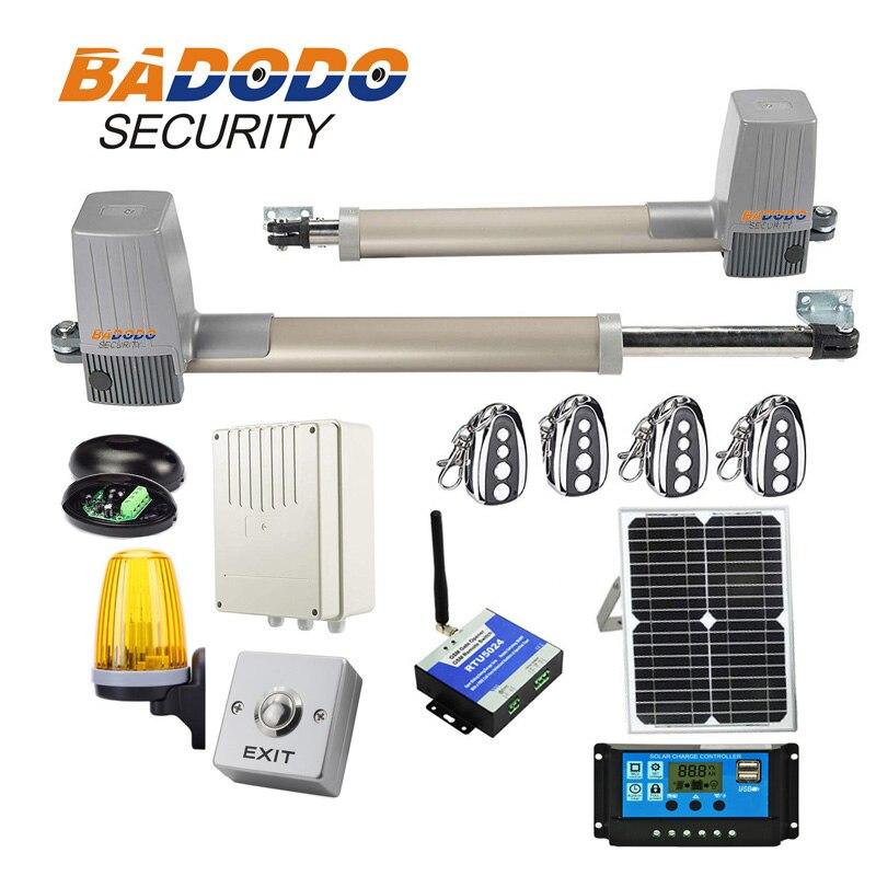 Abridor de Portão Movido a energia solar Kit Completo Para braços duplos Portões 600KGS con painel solar lâmpada controlador gsm sensor de teclado opcional