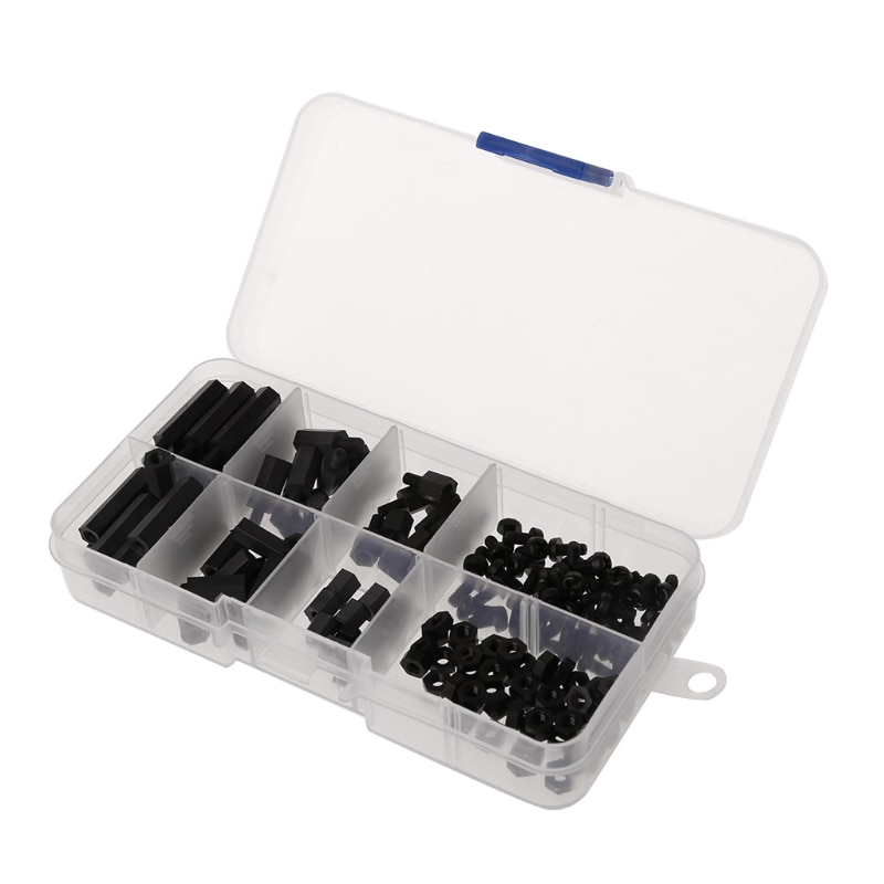 160Pcs M3 Nylon Black M-F Hex Spacers Screw Nut Assortment Kit Stand off Set Box L15