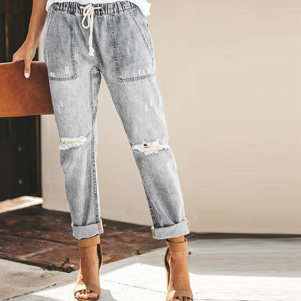 DAPHLIAC Vintage Ladies Boyfriend Jeans For Women Solid Blue High Waist Jeans Streetwear Korean Style Denim Pencil Pants