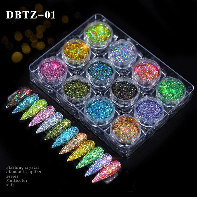 12 colores de luz cebolla en polvo Color mágico brillo lentejuelas de colores con brillos lentejuelas tamaño mixto traje belleza maquillaje para uñas