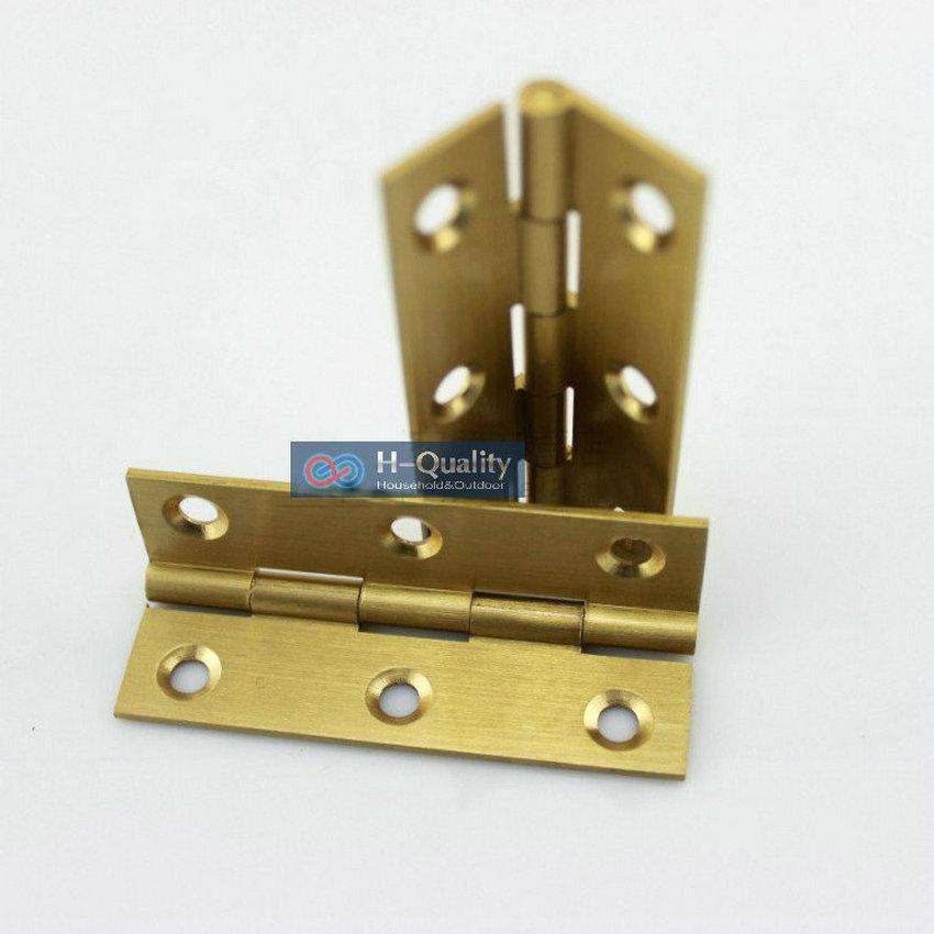 Free Brass Screws 10PCS/Lot Door Hardware 1Inch (25MM) Long Solid Brass Small Door Hinge, Wire Drawing Antique Golden Color golden brass summit fiesta mania