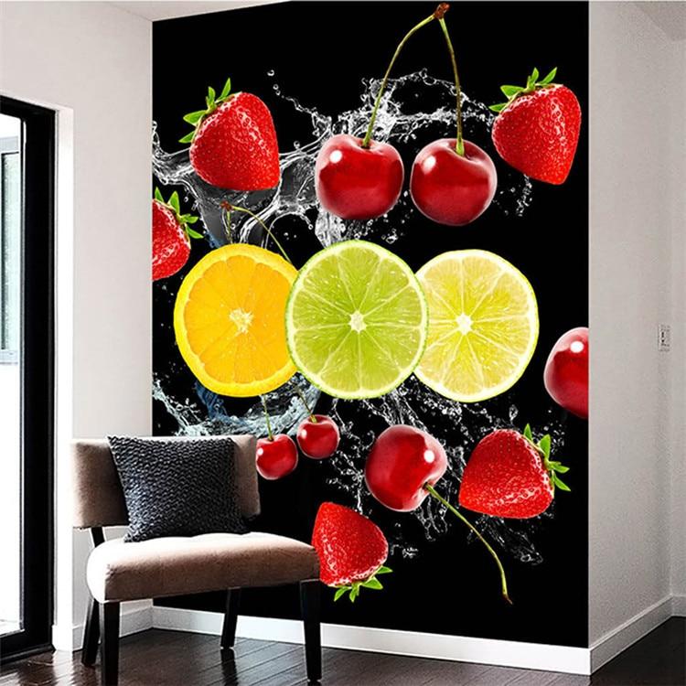 Papel tapiz 3d fondo de fotografía restaurante fruta cereza fresa fondo negro papel tapiz para pasillo sala de estar