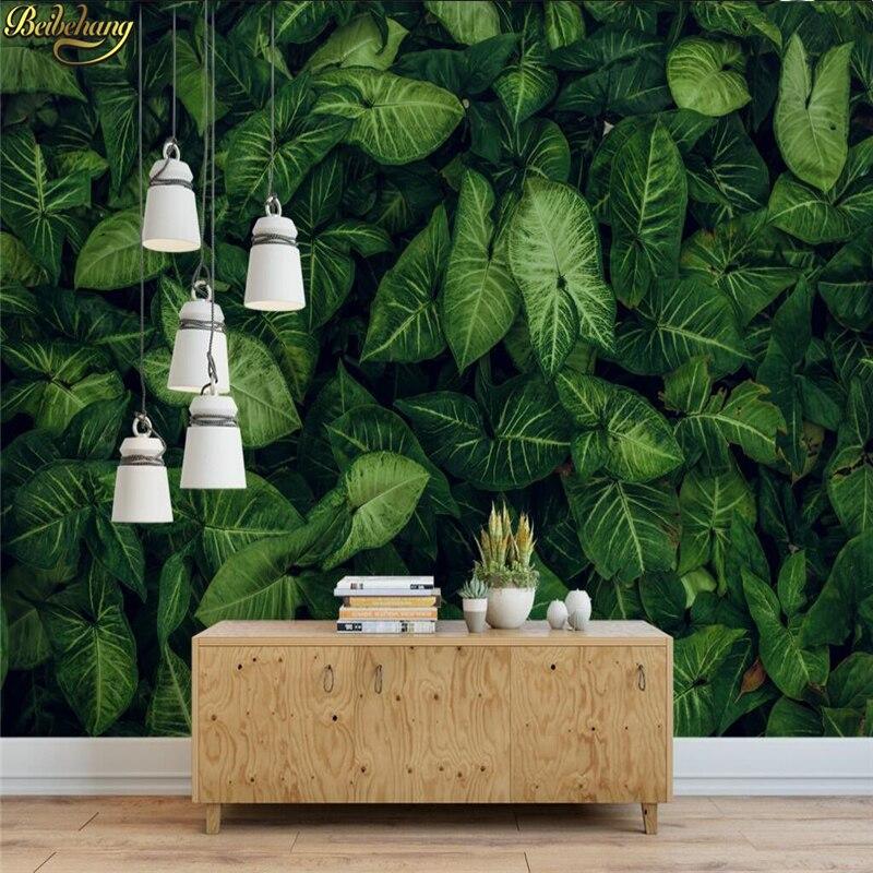 Обои на заказ, большие настенные наклейки на стену, свежая зеленая тропическая листва, полный дом, ТВ-фон