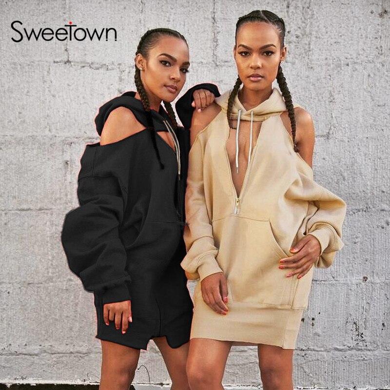 Sweetown sudaderas de gran tamaño moda Coreana de calle femenina ropa de retales 2018 otoño hueco frontal de manga larga sombrero Sudadera larga