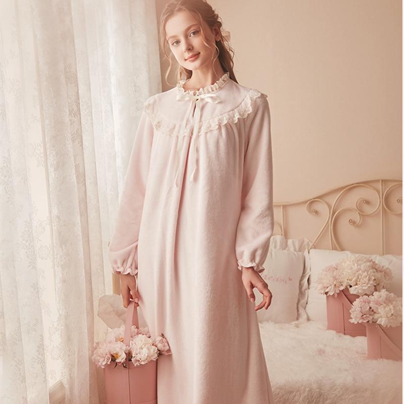 Pink Warm Nightgown Winter Sleepwear Velvet Nightgown Women Elegant Nightdress  Long Homewear Dress Velvet