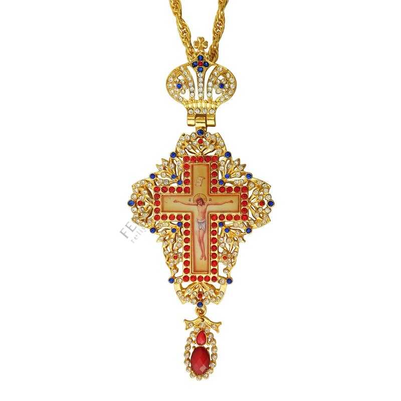 Jóias e esmaltado pectoral cruz corrente jesus crucifixo pingentes clero cristão pingente sacerdote episcopal ícone ortodoxo