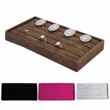 1 stücke Samt Schmuck Ring Ohrring Display Organizer Box Tray Halter Lagerung Schaufenster 4 farben