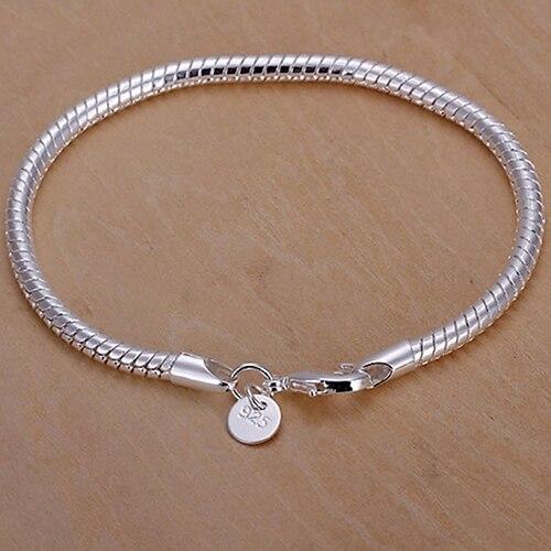 Pulsera delgada chapada en plata a la moda para mujer, brazalete conciso brillante, regalo de joyería