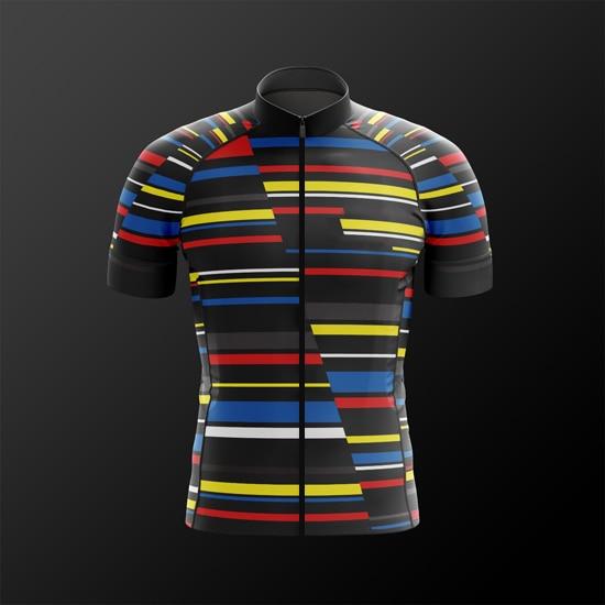 2018 nouvelle ligne colorée pro team aérodynamique coupe à manches courtes maillots de cyclisme haute qualité vélo chemise gentleman race jersey