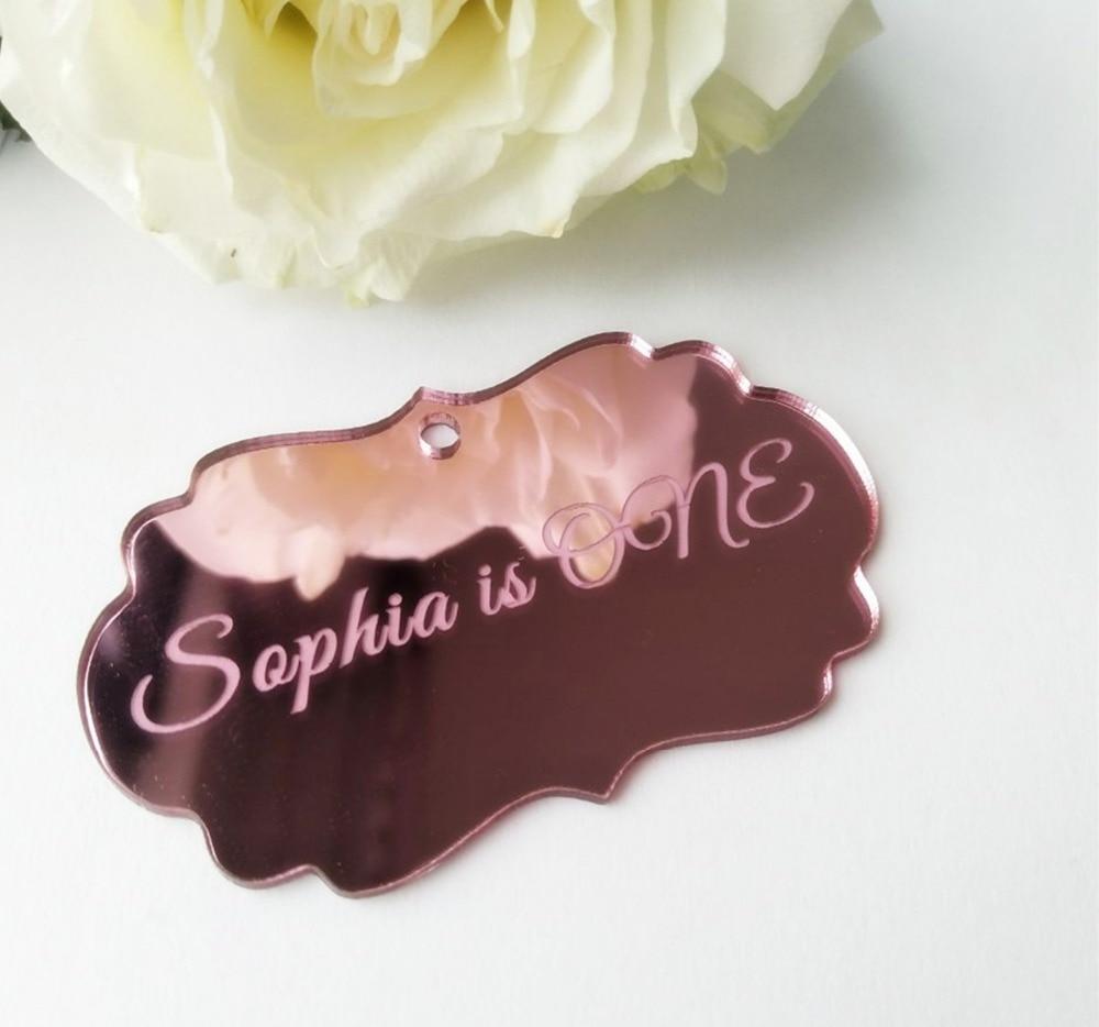 Favor do Casamento Tags de Chocolates Etiqueta do Espelho Personalizado Rose Rosa Espelhado Etiquetas Tag