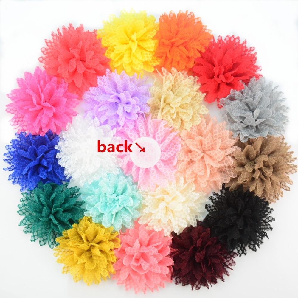 Yundfly 10PCS 4 Boutique Cotton Solid Ballerina Lace Flower For Girl Hair Accessories Artificial Fabric Flowers Decorations