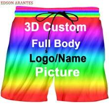 Personalized Custom Board Shorts Unisex Summer Casual Elastic Waist Short Trousers Custom Logo Image Text 3d Print Beach Shorts