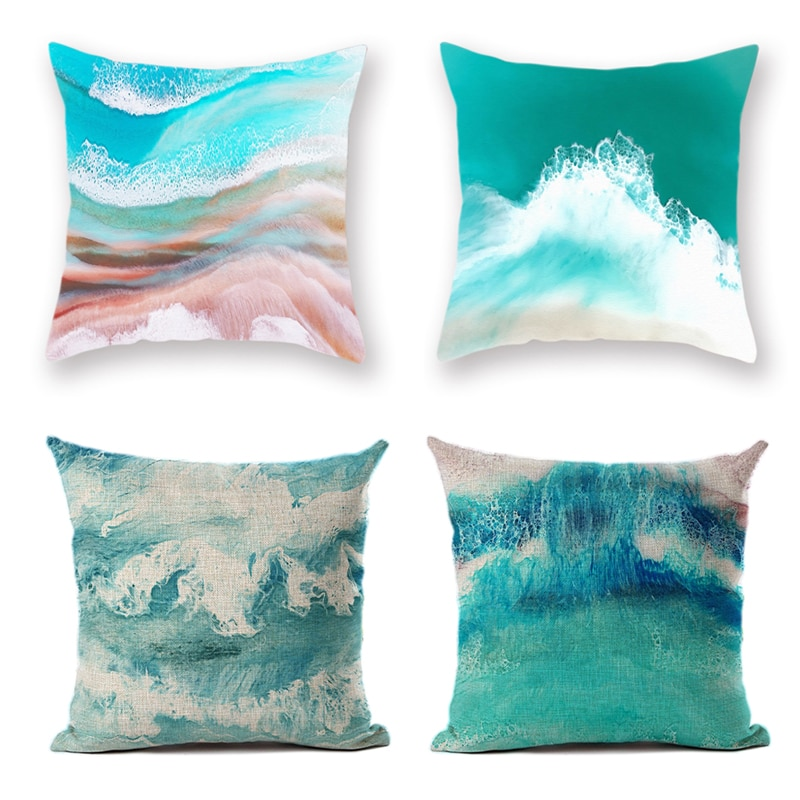 Funda de cojín del océano mar Wave minimalista abstracto Fundas de cojín decorativas de lino de poliéster para sofá cama de verano hogar Decoración fresca