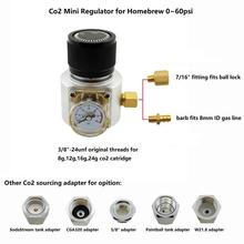 Mini regulador de gás co2, sodastream, paintball, cga320, tanque w21.8, adaptador de cartucho descartável para cerveja homebrew cornelius/barril corny