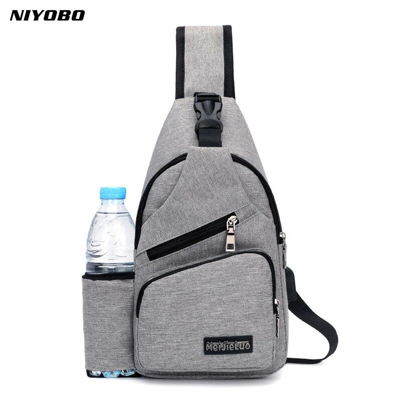 Mochila informal de lona para hombre con USB, mochila sólida para hombre, mochila cruzada pequeña, bandolera para hombre soltero, bolso de hombro PT1279