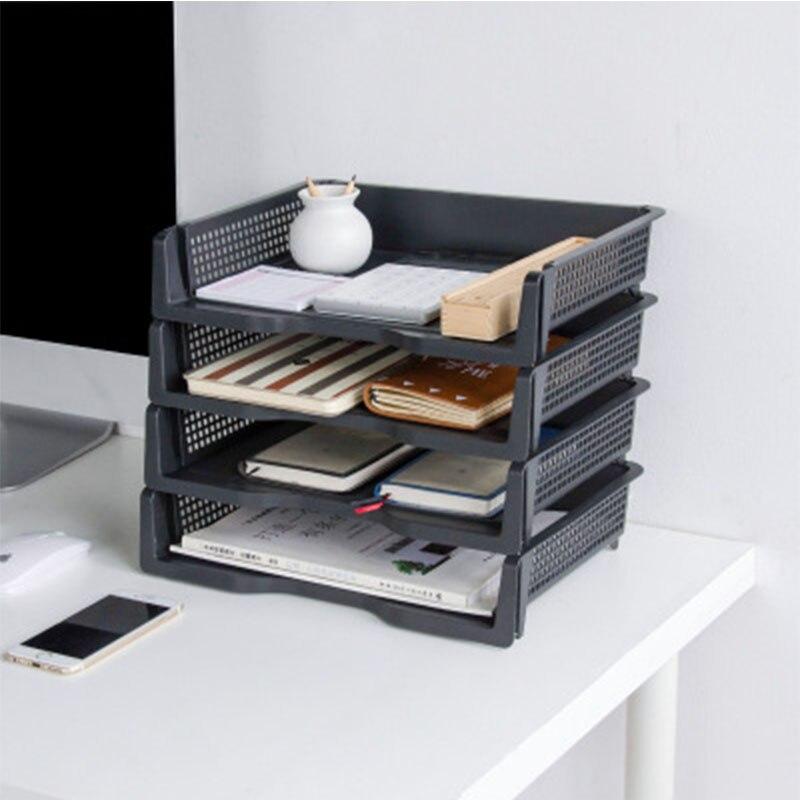 Estante de almacenamiento de archivos de plástico creativo Multi-función de escritorio de hogar sala de estar Oficina A4 papel superpuesto cajas de almacenamiento de archivos