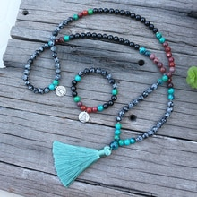 8mm Natural Stone Bead,Mookaite,Snowflake Obsidian,Buddha,JapaMala Sets,Spiritual Jewelry,Meditation,Inspirational,108 Mala Bead