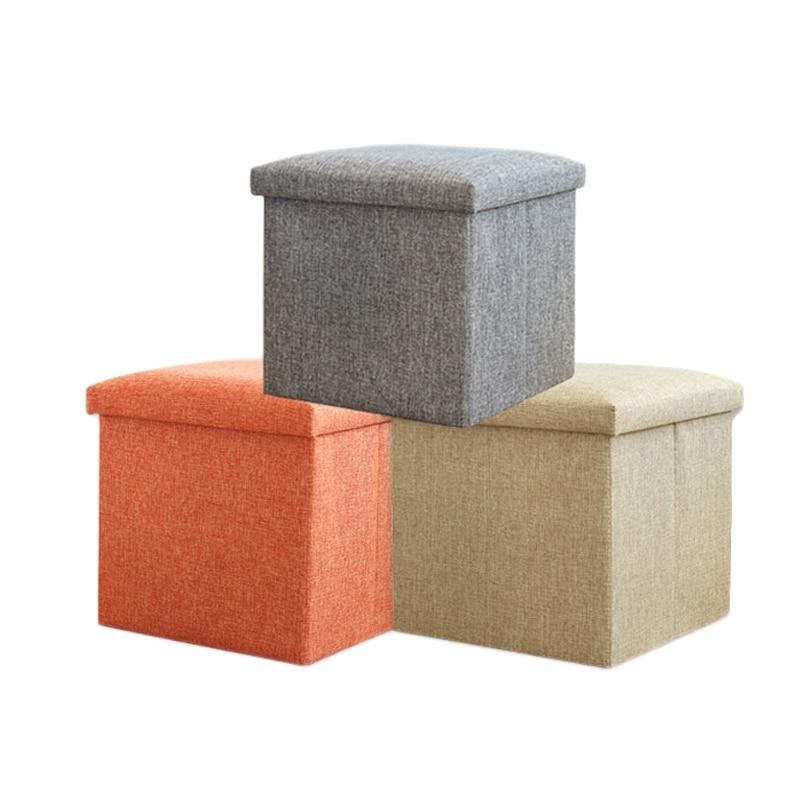 Caja de almacenamiento de lino de algodón para ropa, organizador de juguetes, contenedor de escritorio, estuche de libro cosmético con cubierta, taburete de Silla, contenedores de decoración de asiento