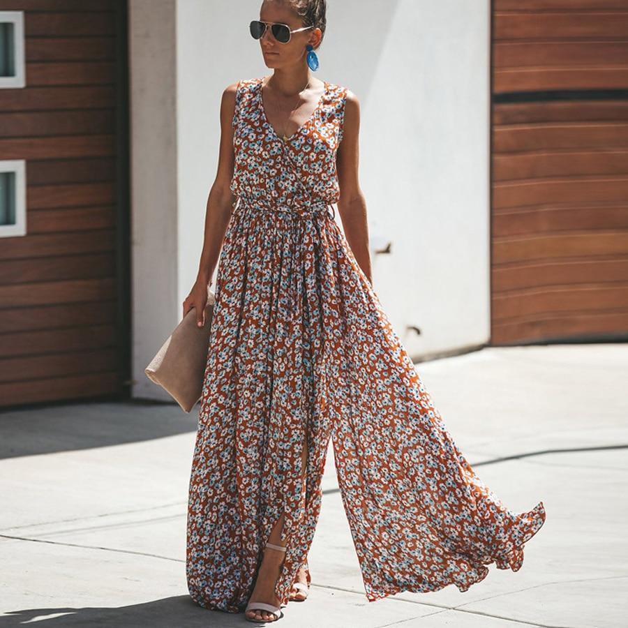 TEELYNN maxi dress floral print sexy v-neck summer dresses sleeveless Split fork sundress loose Gypsy boho women dresses vestido