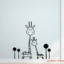 Autocollant Mural girafe H343   Autocollant Mural en vinyle, autocollant amovible pour bébé, Cool animaux deux girafes mignonnes, Art Mural
